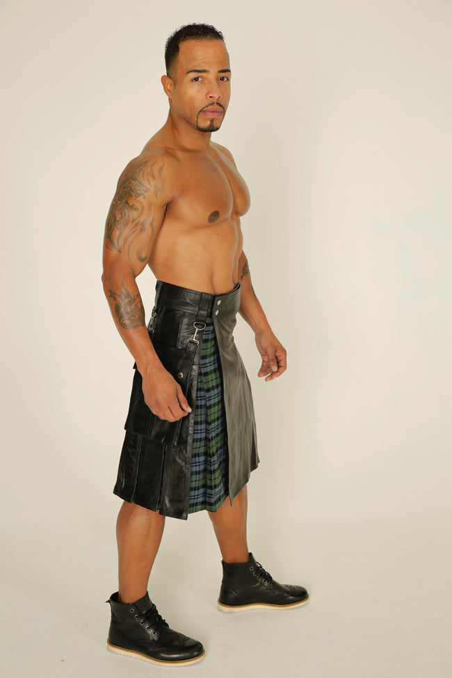 black hybrid leather kilt side view