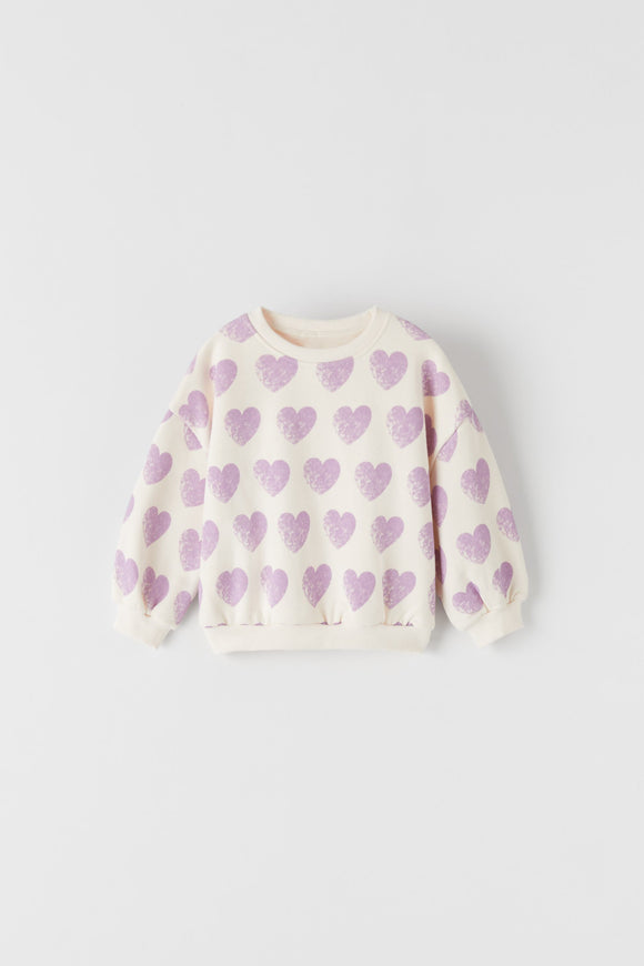 ZR - Purple Heart Print Sweat Shirt