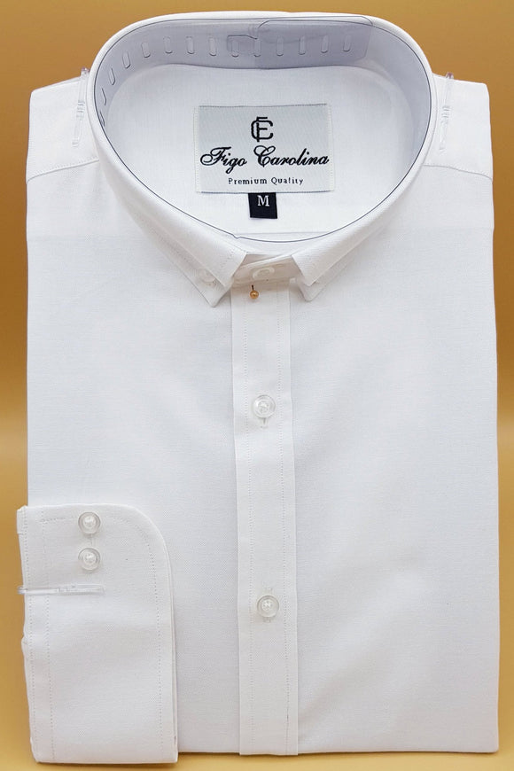 White Polo Semi-Formal Button Down Shirt - Figo & Co.