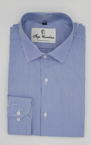 Blue Classic Stripes Formal Shirt - Figo & Co.