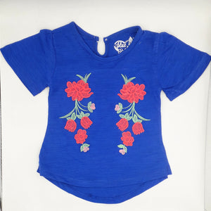 B Cherry - Royal Blue Floral Embroidered Top