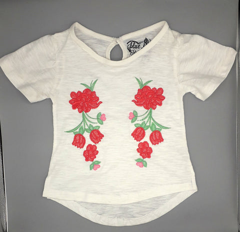 B Cherry - White Floral Embroidered Top