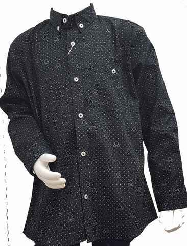 ZR - Black Polka dots Print Button Down Shirt