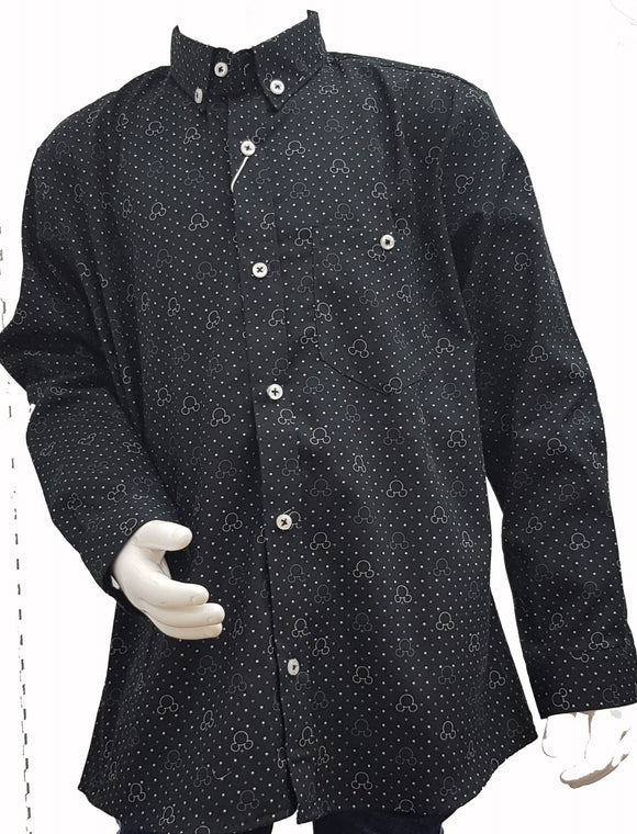 ZR - Black Self Print Button Down Shirt