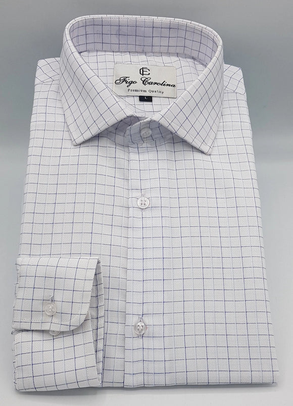 White Executive Check Formal Shirt - Figo & Co.