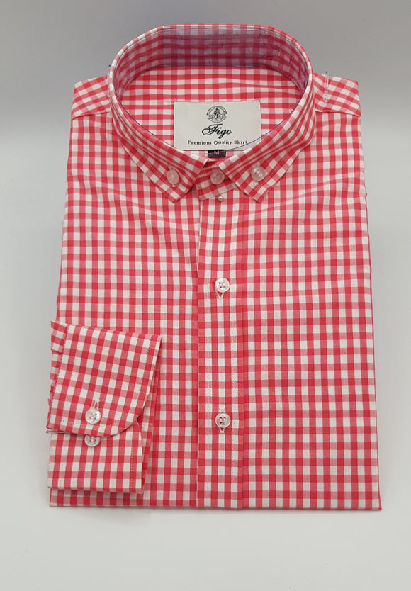 Pink Gingham Check Semi-Formal Shirt - Figo & Co.