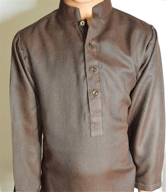 Two Tone Brown Kurta By Figo Kids