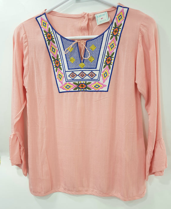 Kakiai - Peach Embroiderd Top