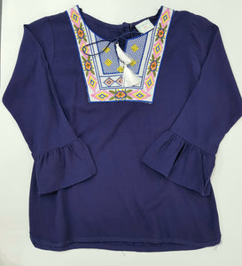 Kakiai - Navy Blue Embroiderd Top