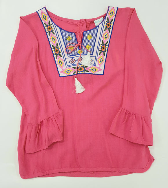 Kakiai - Pink Embroiderd Top