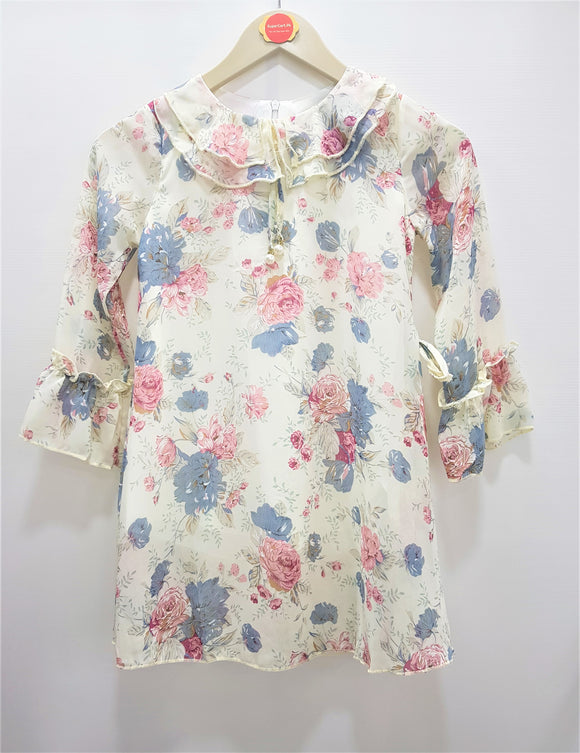 Guodi - White Grey Flower Printed Top
