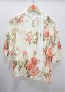 Guodi - White Flower Printed Top