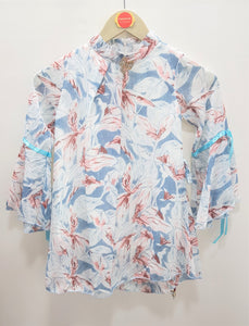Guodi - White Blue Printed Top