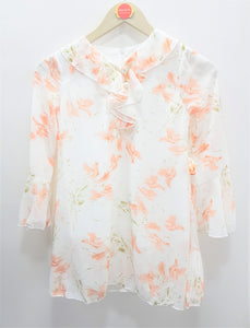 Guodi - White Light Pink Printed Top