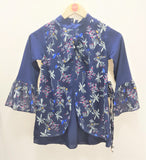 Guodi - Navy Blue Flower Printed Top