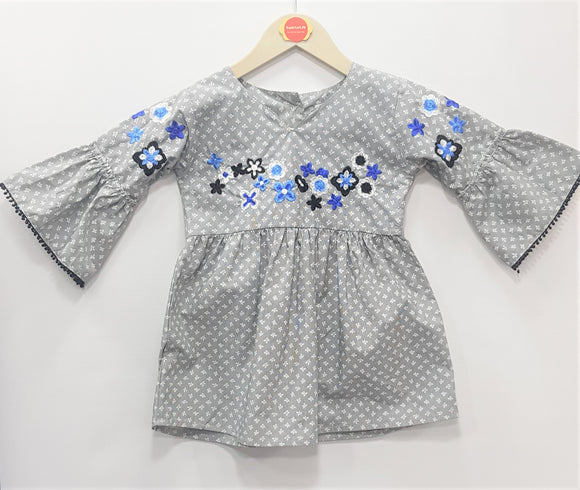 IMPORTED -  Grey Embroidery Frock