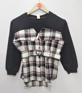 IMPORTED - Black White Red Chek Sweat shirt Girls