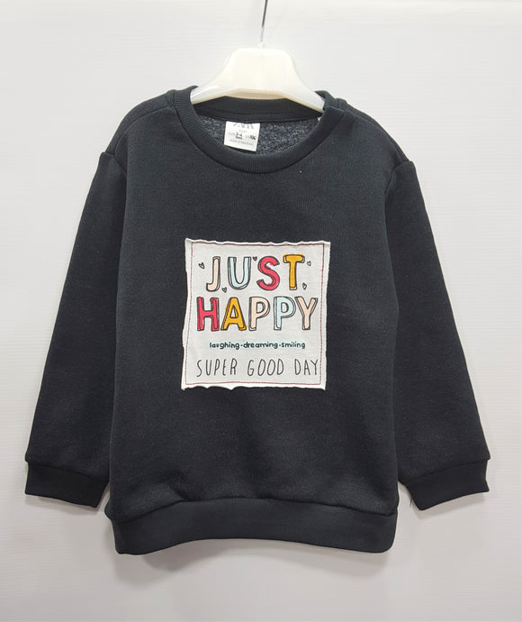 ZR - Black Just Happy Sweat Shirt