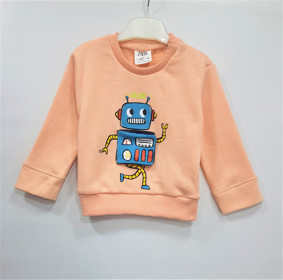 ZR - Peach Applique Robot Sweat Shirt