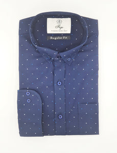 Navy Blue Print  Semi-Formal Shirt - Figo