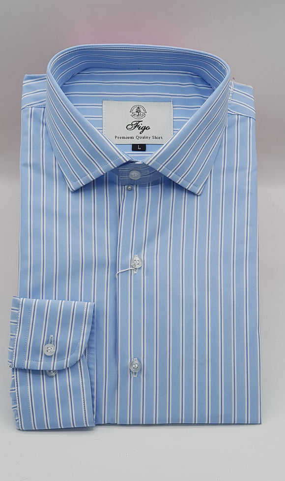 Blue Stripe Formal Shirt - Figo & Co.