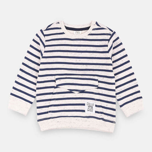 ZR  - Blue Stripe Kangaroo Sweat Shirt