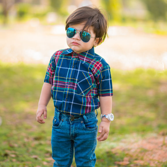 Figo Kids - Blue & Red Check Shirt
