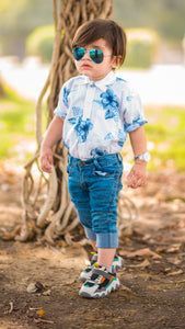 Figo Kids - Blue Floral Printed Shirt