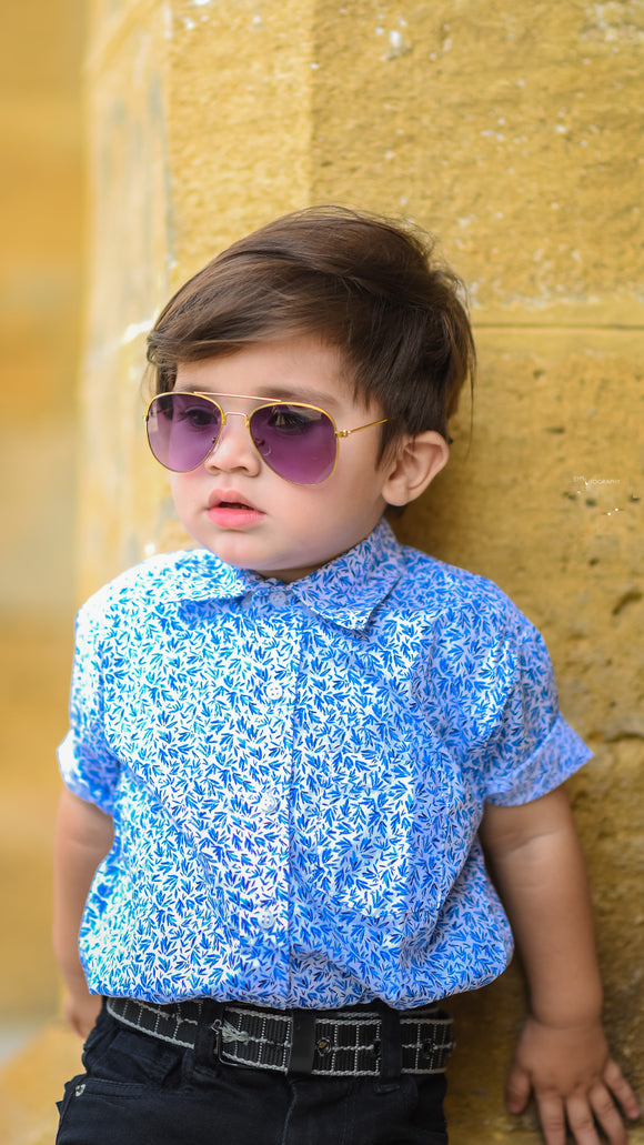 Figo Kids - Blue Printed Shirt
