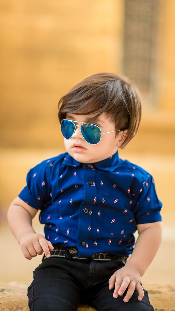 Figo Kids  - Navy Blue Printed Shirt boys