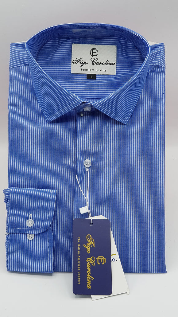 Dark Blue Stripe Formal Shirt - Figo & Co.