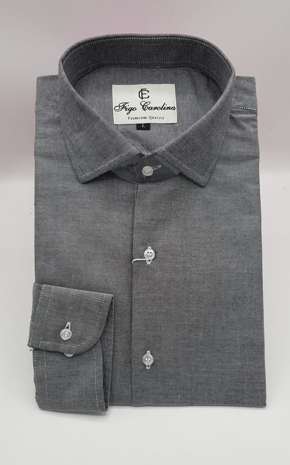 Dark Grey Formal Shirt - Figo & Co.