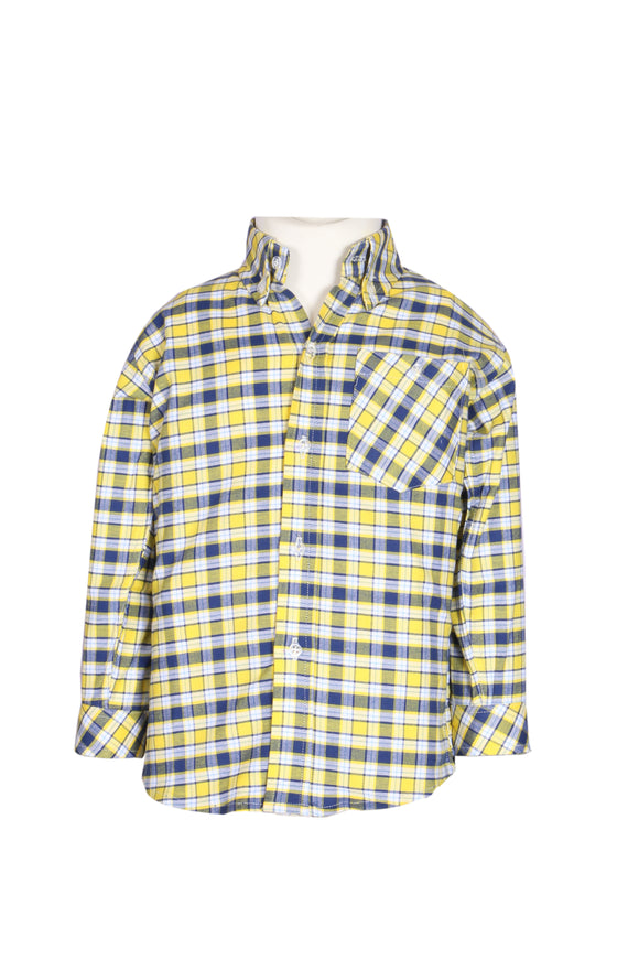 Figo & Co. - Yellow & Blue Check Shirt