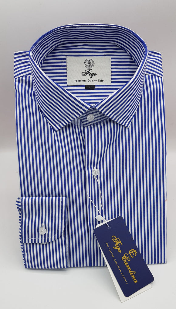 Royal Blue Stripe Formal Shirt - Figo & Co.