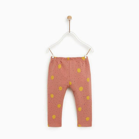 ZR - Polka Dots Print Pink Girls Cotton Fleece Trouser