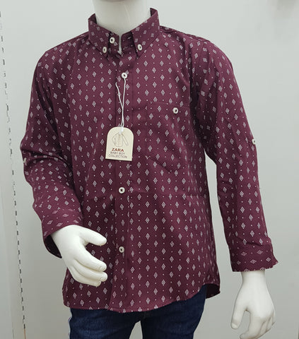 ZR - Maroon Print Button Down Shirt