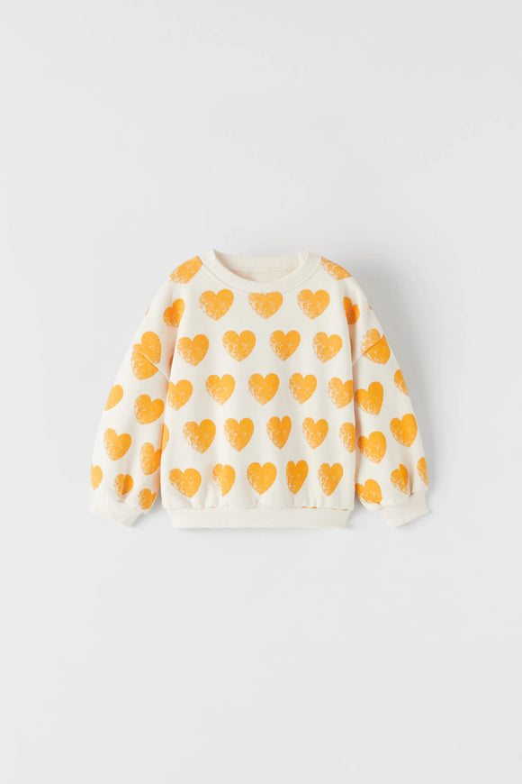 ZR - Mustard Heart Print Sweat Shirt
