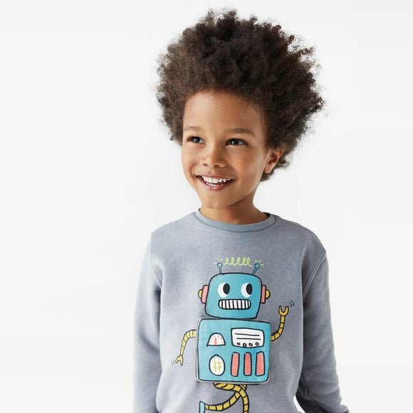 ZR - Blue Applique Robot Sweat Shirt