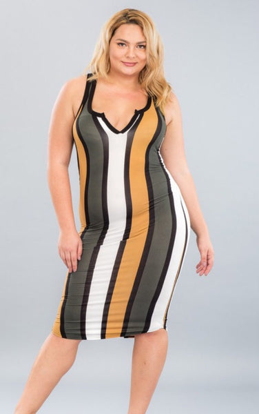 Katie Dress Plus (Multi Stripe)