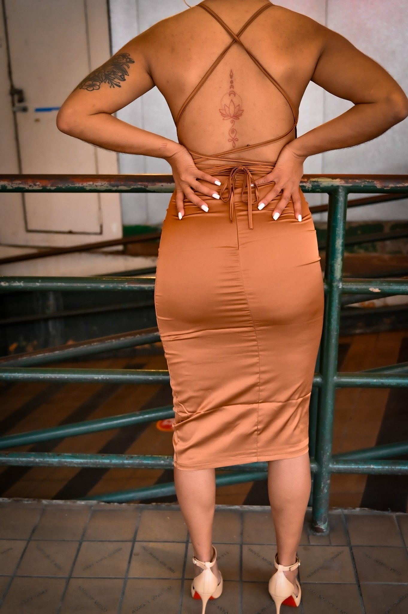 Cindy Silk Dress (Brown)