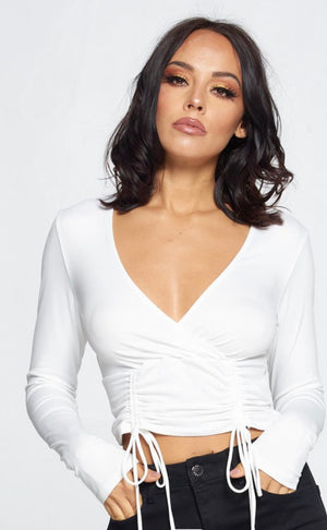 Regina Ruched Top (Off White)
