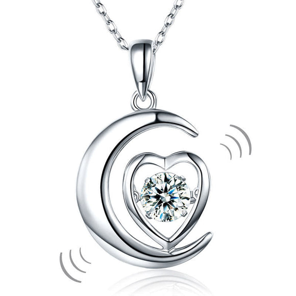 Necklace - Dancing Stone Moon Heart Pendant Necklace 925 Sterling Silver