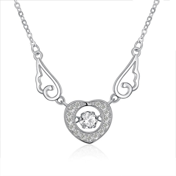 Necklace - S925 Silver Necklace Heart Shaped Wings Necklace