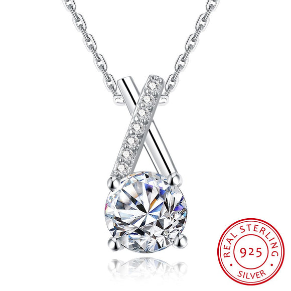Necklace - S925 Silver Necklace One Carat Diamond Necklace Trend Necklace