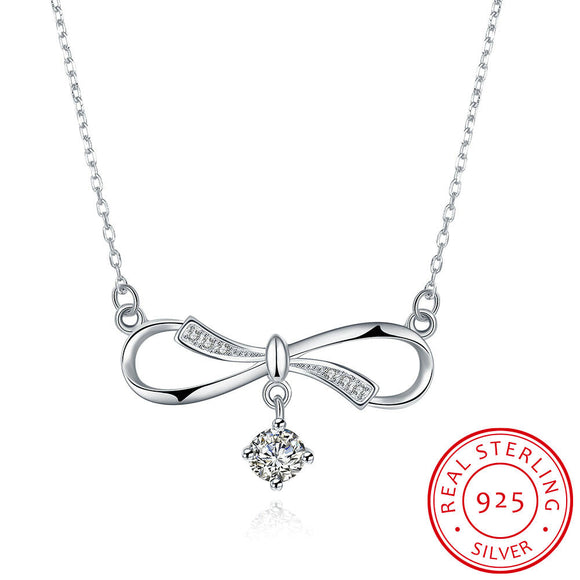 Necklace - S925 Silver Necklace Bow Necklace