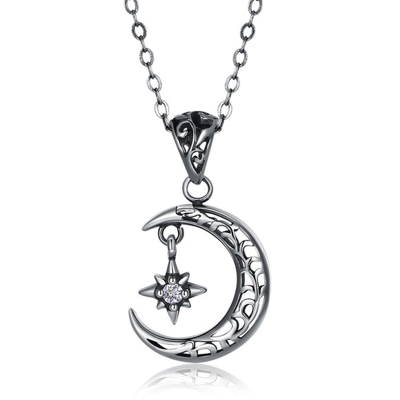 Necklace - S925 Silver Necklace Retro Electroplating Crescent Star Smart Necklace