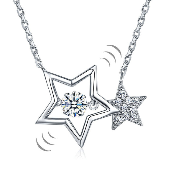 Necklace - Dancing Stone Stars Necklace Solid 925 Sterling Silver New Style 2017 Simulated Diamond