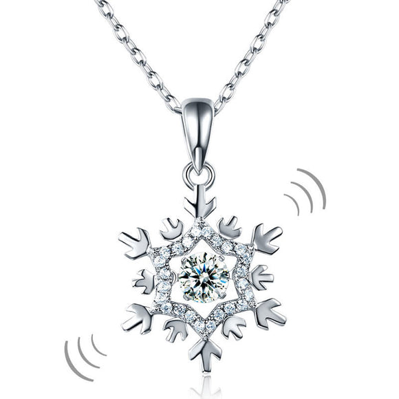 Necklace - Dancing Stone Snowflake Pendant Necklace Solid 925 Sterling Silver Good for Bridal Bridesmaid Gift