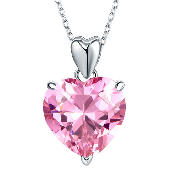 Necklace - 925 Sterling Silver Bridesmaid Heart Pendant Necklace 5 Carat Pink Bridal Jewelry