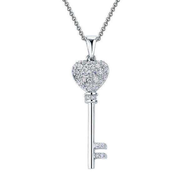 Necklace - Simulated Diamond Love Key 925 Sterling Silver Cross Pendant Necklace